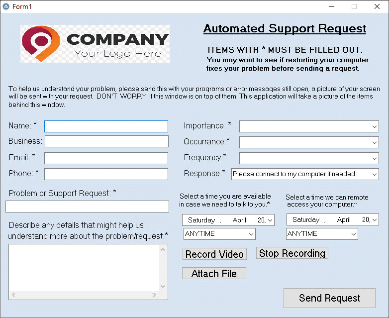 Support Request App - Branded